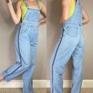 Vintage 90s light wash track stripe denim overalls